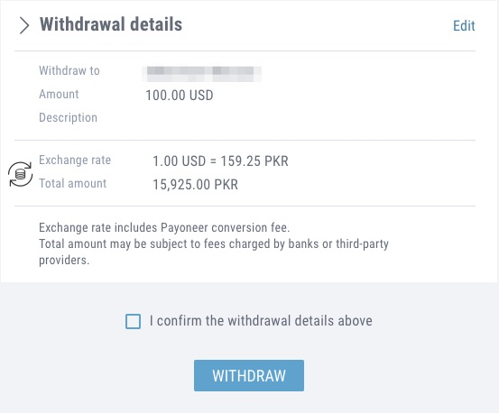 Estimated bank transfer amount when withdrawing funds from Payoneer